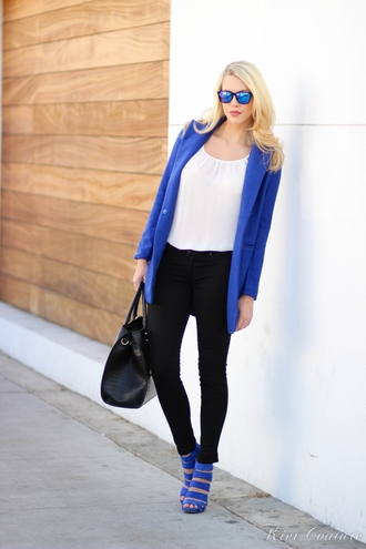 fashion addict blogger jeans top jacket shoes bag make-up