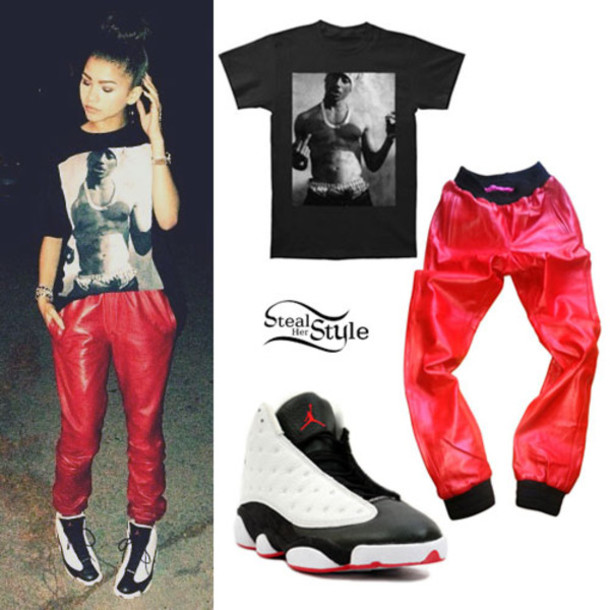 pants shirt shoes red black zendaya tupac zendaya bag