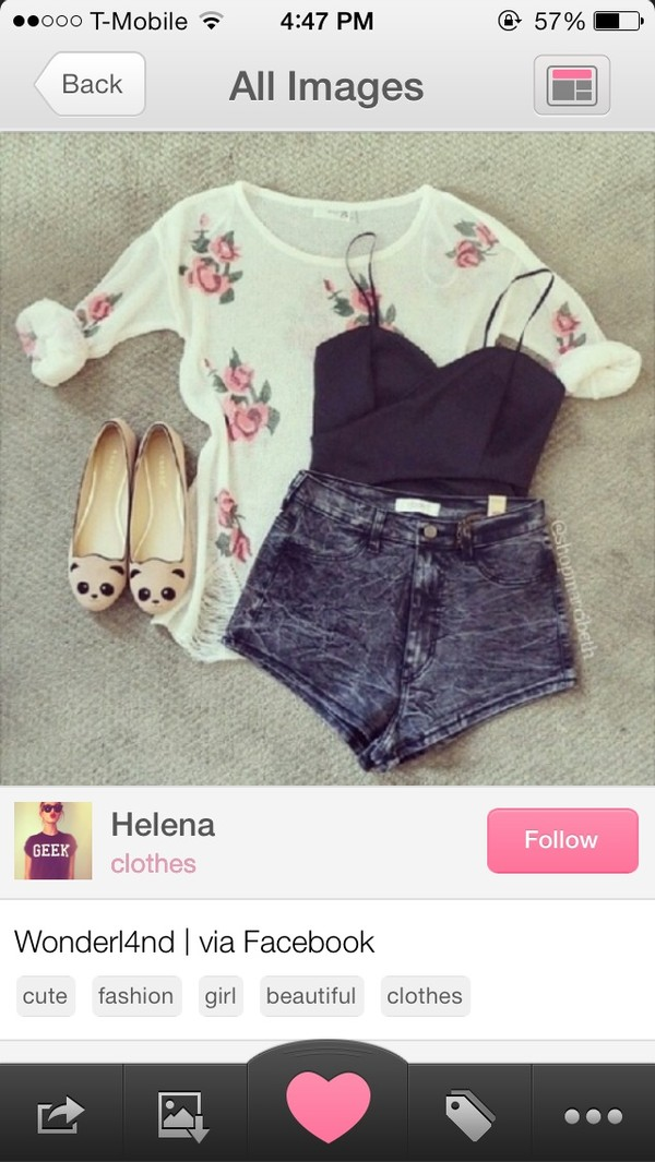 sweater panda shorts blouse shoes