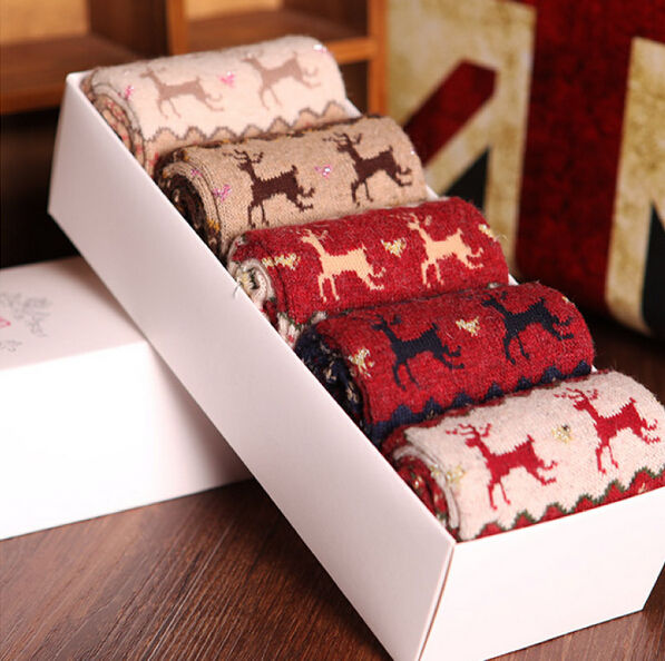 5 pairs women christmas designer fashion dress socks winter rabbit wool socks