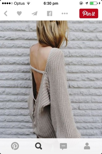 sweater backless wool baggy