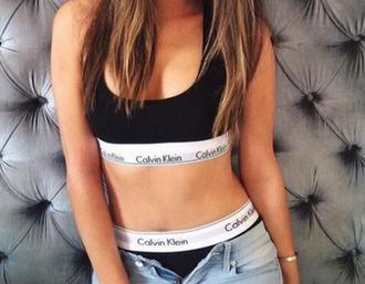 underwear bralette calvin klein calvin klein underwear sports bra sportswear denim jeans black