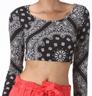 Black paisley crop top