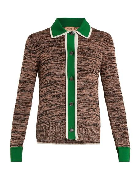 No. 21 cardigan cardigan cotton brown sweater