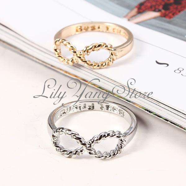 Fashion Best Friends Words Letter Infinite Infinity Bowknot Charm Finger Ring | eBay