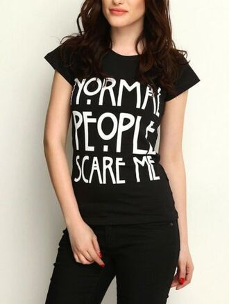 top it girl shop quote on it black streetwear girl normal people scare me grunge