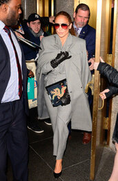 jumpsuit,suit,grey,pants,celebrity,fall outfits,coat,jennifer lopez