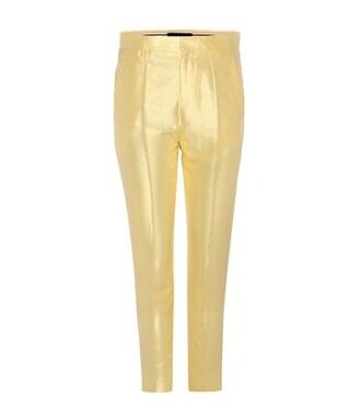jacquard silk yellow pants