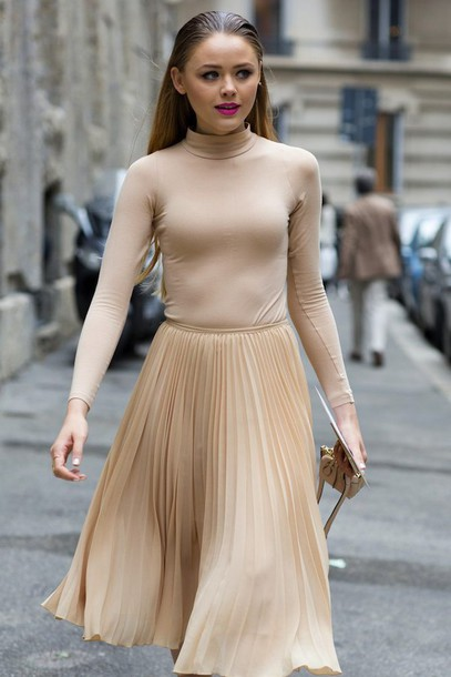Skirt: fashion week 2014, streetstyle, beige, pleated skirt, midi ...