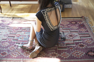 rug tribal pattern carpet backless dress dress