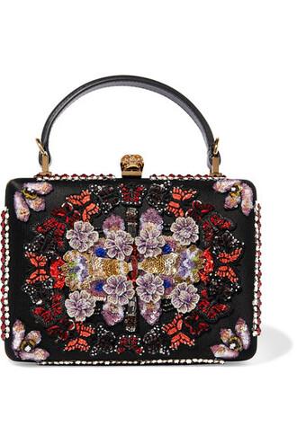 embellished clutch black satin bag