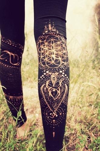leggings fashion yoga pants henna mandala black high waisted pants gym clothes