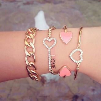 jewels bracelets heart love chain chain link gold studded pink lovely cuff bracelet beaded