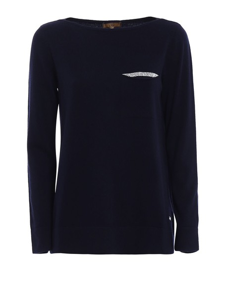 FAY sweater blue sweater embellished blue wool navy