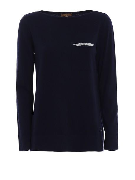 sweater blue sweater embellished blue wool navy