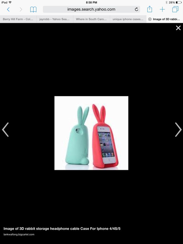 Blue Phone >> 3D rabbit storage headphone cable Case For Iphone 4/4S/5