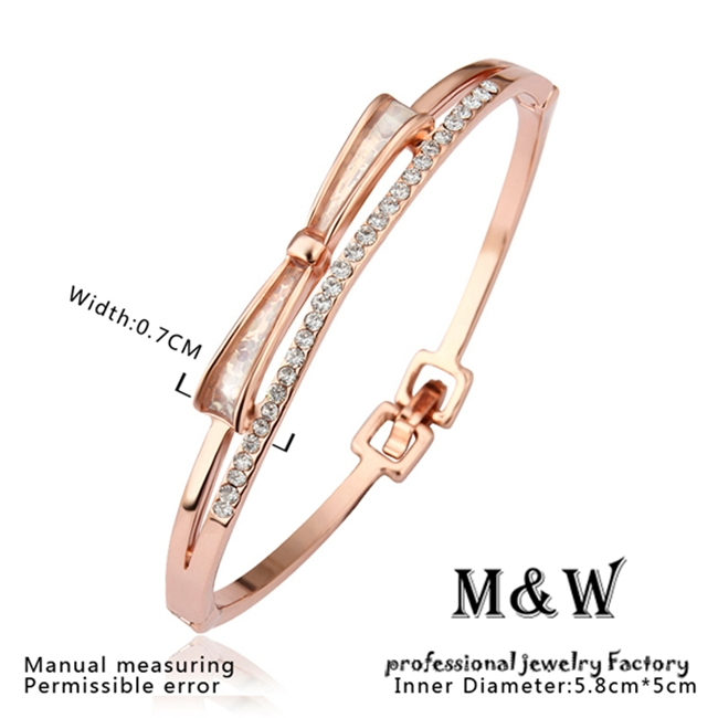 10$ free shipping! z028 fashion clear crystal bow knot bangle rose gold plated bangle bracelets jewelry