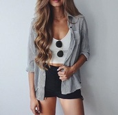 shirt,blouse,stripes,shorts,summer outfits,blue and white stripes,button down shirt,black shorts,denim shorts,High waisted shorts,crop tops,white crop tops,white shirt,tank top,button up,cute,pretty,sweet,tumblr,girl,vertical,striped shirt,sunglasses,short shorts,black,white,summer,outfit,street,idea,flannel shirt