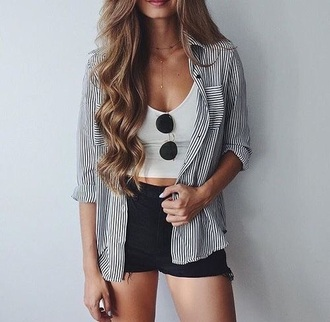 shorts summer outfits shirt stripes button up cute pretty sweet tumblr girl vertical striped shirt crop tops sunglasses short shorts black white summer outfit street idea
