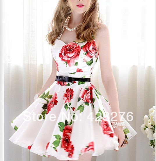 1807 2014 new summer slim white and red flower slim waist expansion bottom sleeveless one piece dress female fashion dress woman-inDresses from Apparel & Accessories on Aliexpress.com