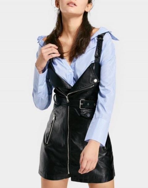 dress girly black black dress leather zip zipper dress