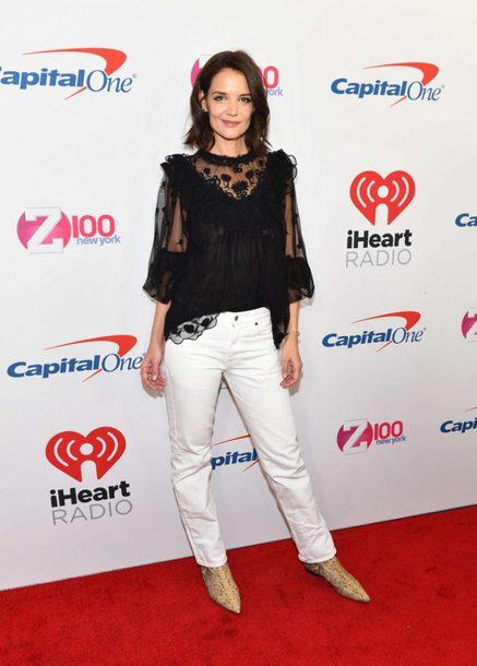 top black white pants blouse celebrity katie holmes
