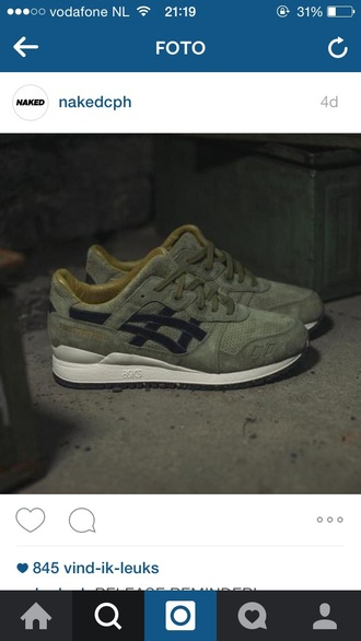 shoes army green asics