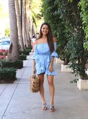 jessica r.,hapa time - a california fashion blog by jessica,blogger,dress,bag,shoes,jewels,blue dress,off the shoulder dress,summer dress,straw bag,sandals,summer outfits