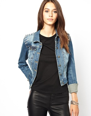 Only denim jacket with stud shoulder at asos