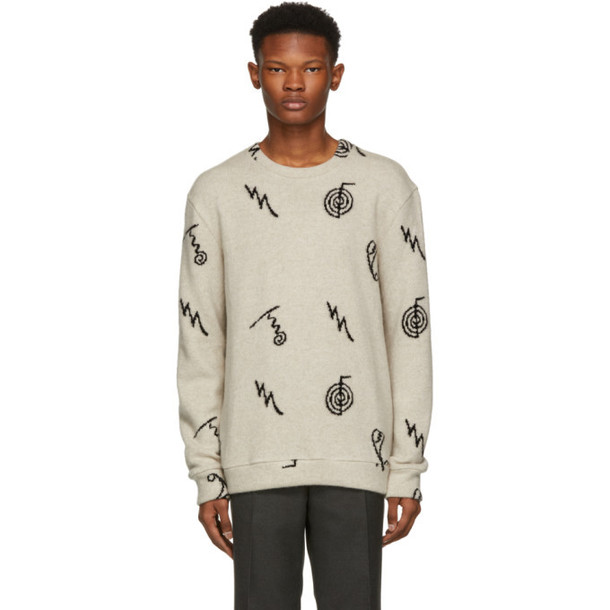 The Elder Statesman Black Cashmere Intarsia Sweater