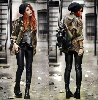 jacket luanna perez leather pants khaki studs beanie military style pants rock cardigan army green jacket leather camouflage punk