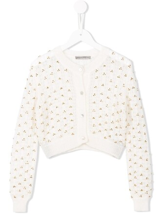 cardigan girl knit open embroidered white sweater