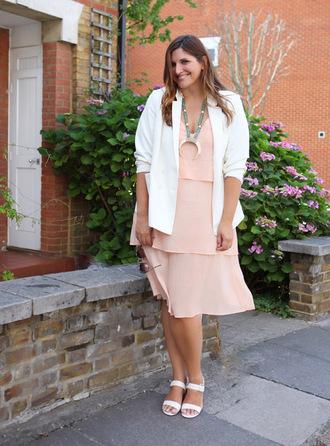 fashion foie gras blogger jacket dress shoes jewels blazer white blazer pink dress sandals