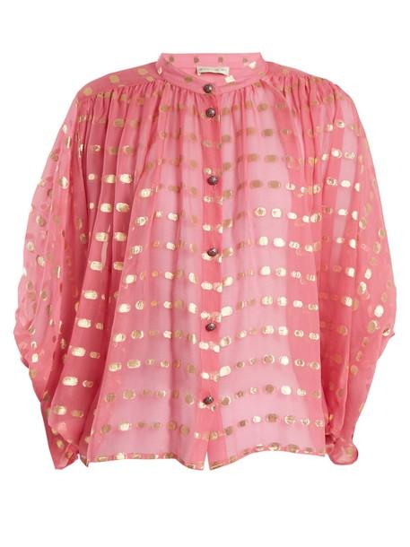 blouse chiffon blouse chiffon gold pink top