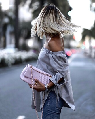 top tumblr off the grey top off the shoulder top long sleeves bag pink bag denim jeans blue jeans hair platinum hair