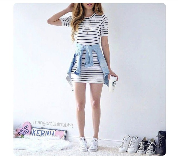 dress striped t-shirt dress