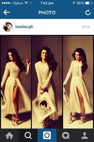dress lea michele glee rachel berry white dress white lace white lacey dress