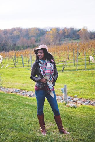 alicia tenise blogger floppy hat blanket scarf tartan scarf jacket sweater jeans shoes scarf hat jewels
