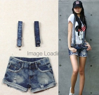 shorts braces suspenders denim summer outfits t-shirt cap womens girl outfit