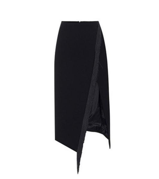 David Koma Fringed wool-crêpe skirt in black