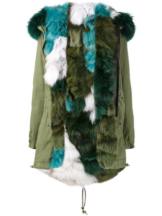 coat parka fur fox women cotton green
