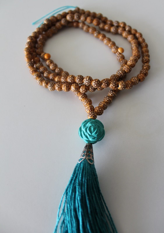 Turquoise Tassel Yoga Necklace Mala Yoga Tassel Necklace Wooden Bead Necklace Meditation Prayer Beads Yoga Beads Wooden Beadwork 38