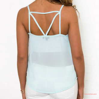 tank top shirt amazinglace mint cut out back
