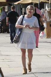 dress,mini dress,ankle boots,sunglasses,white dress,spring outfits,hilary duff