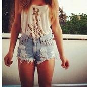 shirt,shorts,summer,cute outfits,studded,studded shortshigh waisted shorts,denim shorts,ripped,top,denim,short shorts
