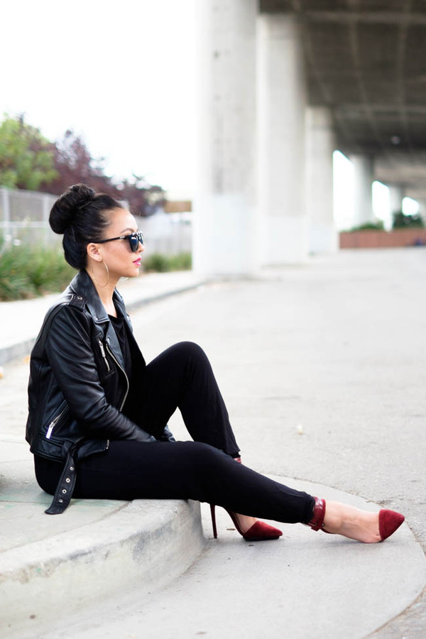 the fancy pants report blogger jumpsuit jacket sunglasses
