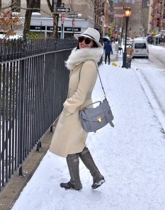 my style pill blogger grey boots winter coat satchel bag hat coat sunglasses scarf pants shoes bag make-up