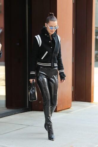 pants jacket boots bella hadid model off-duty streetstyle sunglasses