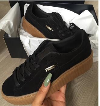 shoes puma black gold cute gumbottom