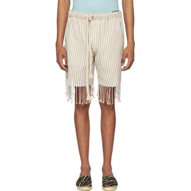 Loewe Beige & White Paula's Ibiza Edition Striped Shorts